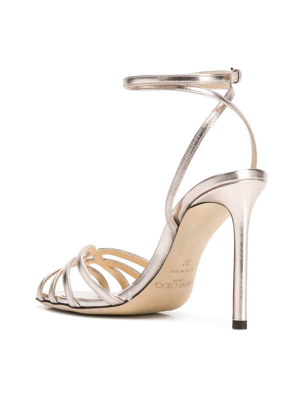 90db78c8187f Platinum MIMI 100 Sandals - JIMMY CHOO - Russocapri