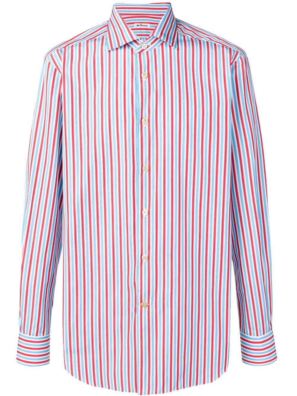 bd895f712c Shirt With Red, White And Light Blue Stripes - KITON - Russocapri