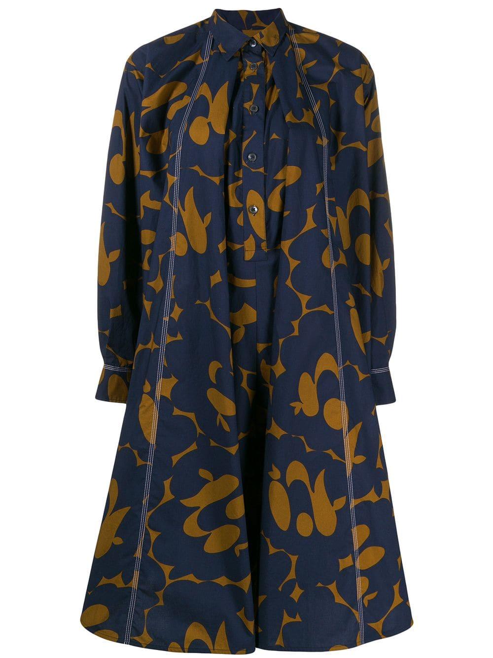 1bcb0199e2b1 Abito Camicia In Cotone Blu E Color Cammello Con Stampa Belou - MARNI -  Russocapri