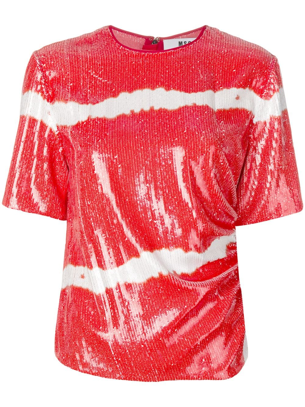 a84f5987cb96d9 Striped Red Shirt With Sequins - MSGM - Russocapri