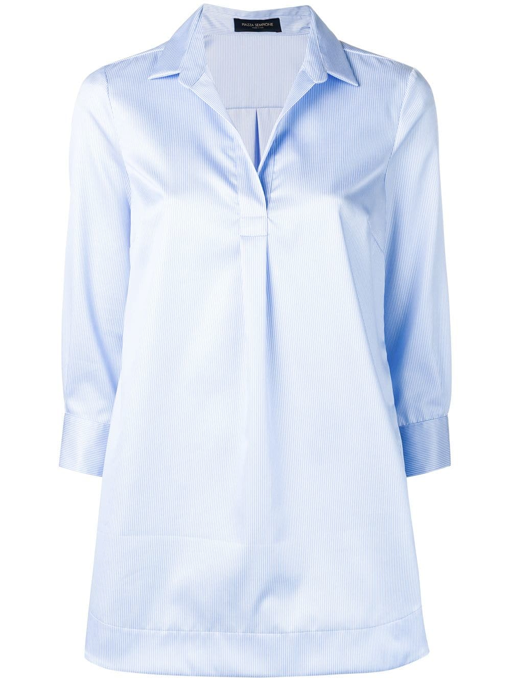 7b8a86030ef1 V-Neck Blouse With White And Light Blue Stripes - PIAZZA SEMPIONE -  Russocapri