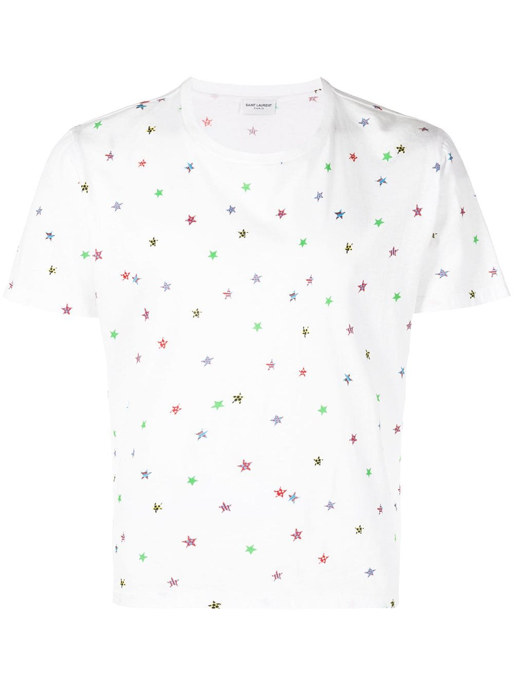 2edb6d8302b White T-shirt with Multicolor Stars - SAINT LAURENT - Russocapri