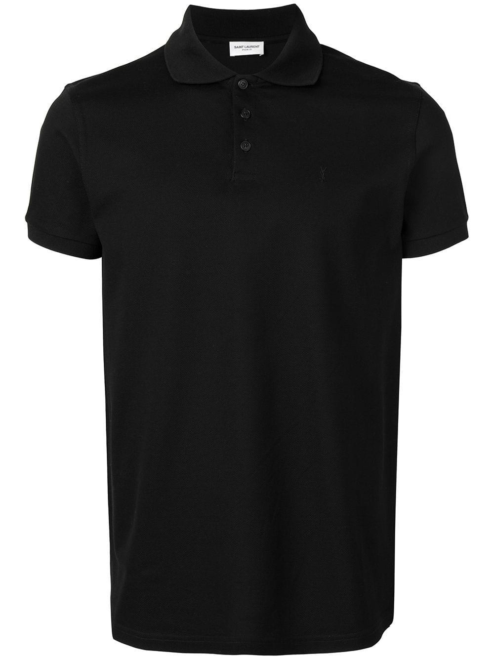 01764e17ba61c5 Polo Shirt in Black Cotton - SAINT LAURENT - Russocapri
