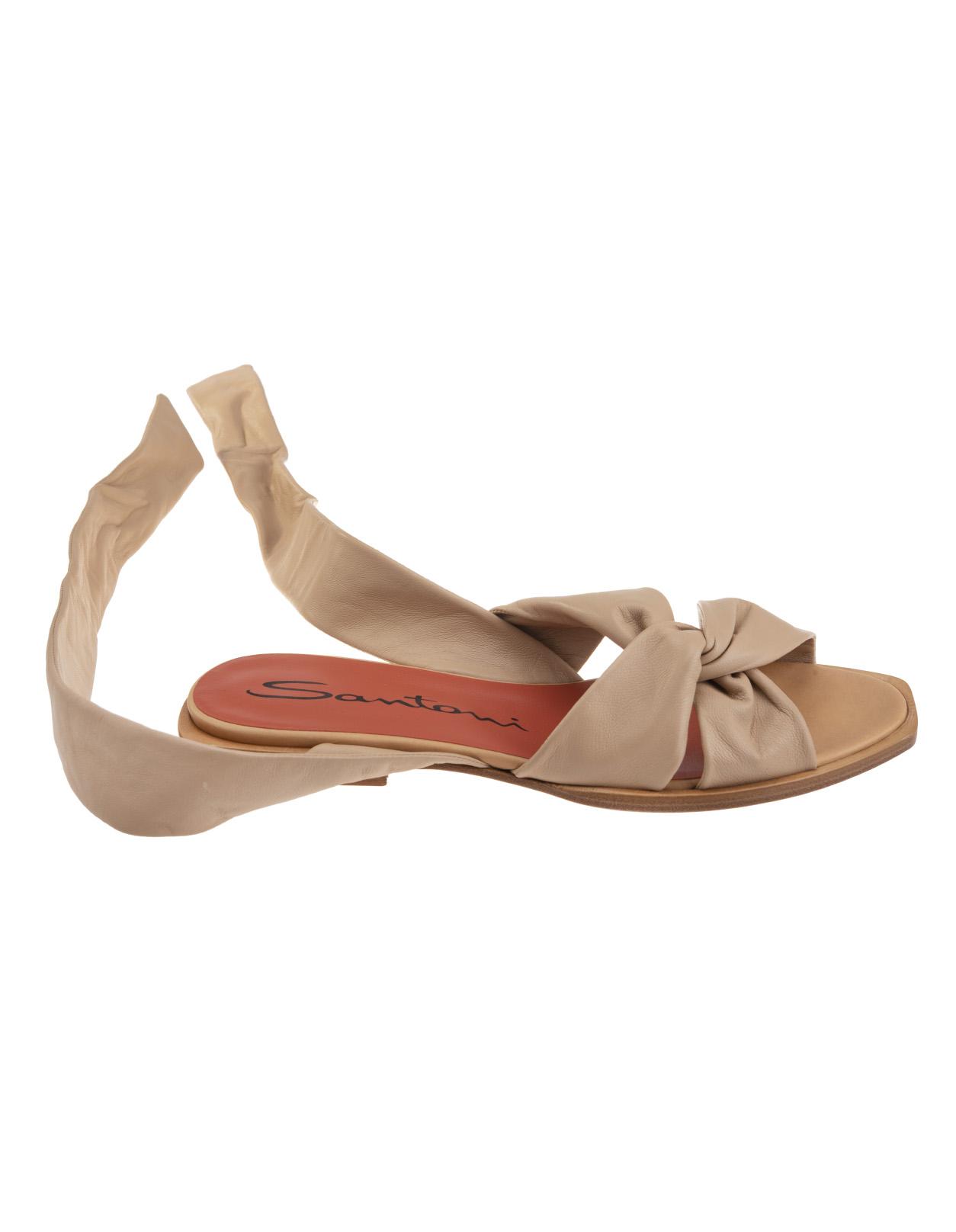 1ba74a0ba760 Beige Low Sandal With Woven Detail - SANTONI - Russocapri