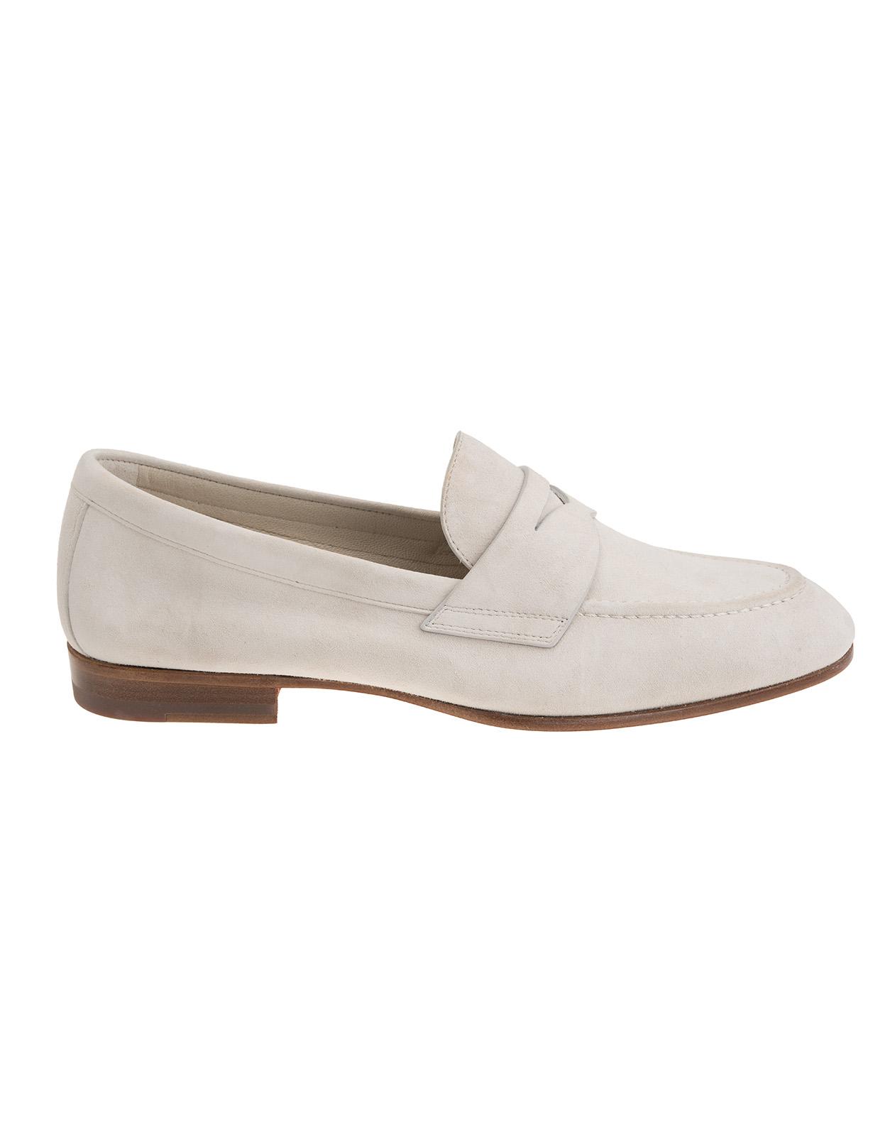 23bb75155599 Light Grey Suede Loafers - SANTONI - Russocapri