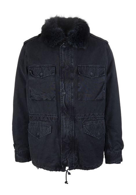 Parka uomo in pelliccia blu GIOVI | Giacche Denim | PK18302/9696