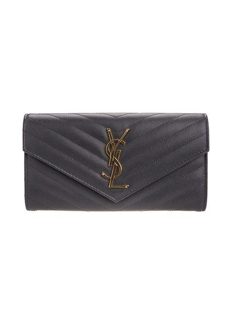 Grey Large Monogram Wallet SAINT LAURENT | wallets | 372264-BOW011251