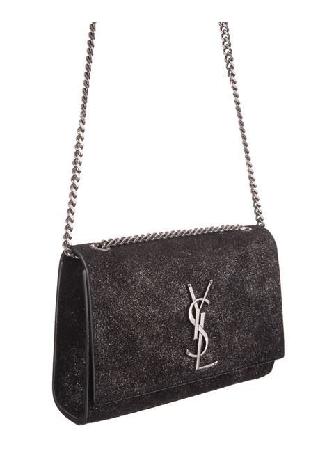 9a2d86c11 SAINT LAURENT. € 1550.00 · KATE SMALL BAG IN BLACK LEATHER WITH GLITTER