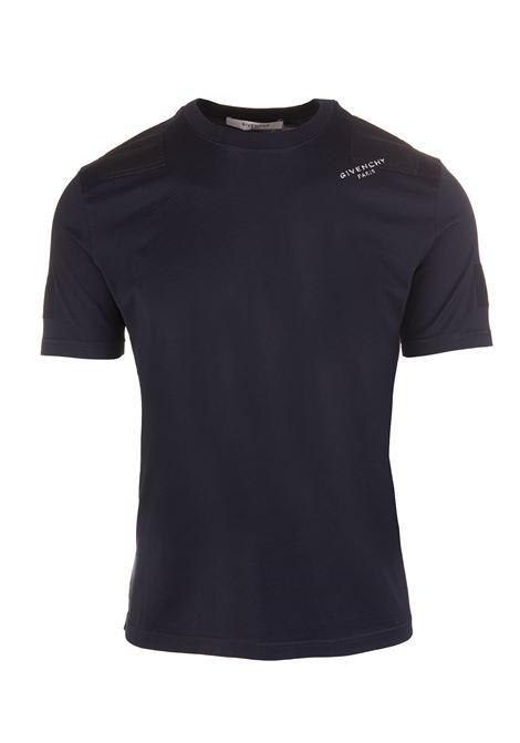1d5aa7c365 T-Shirt Slim-Fit Blu Navy Con Logo Sulla Spalla - GIVENCHY - Russocapri