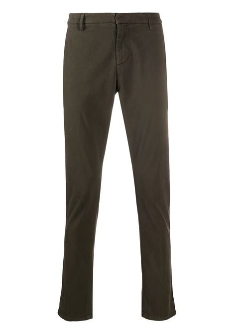 Man Slim Gaubert Pant In Dark Military Green Stretch Satin DONDUP | trousers | UP235-RSE032 PT0697