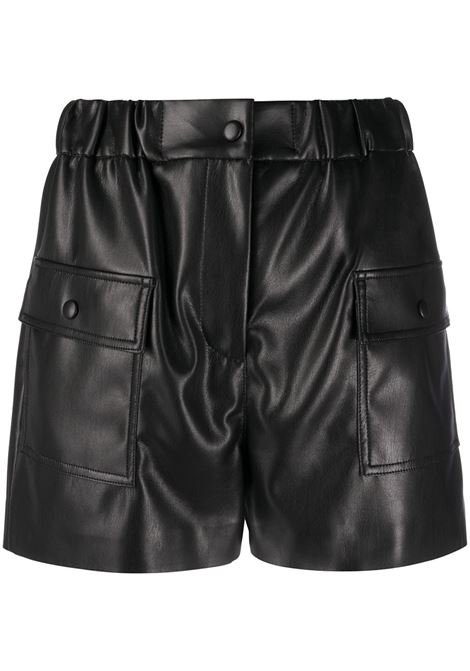 Woman Shorts In Black Faux Leather MSGM | Shorts | 2941MDB0320765299