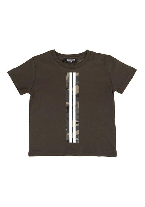 Olive Green Kid T-Shirt With Camouflage Detail NEIL BARRETT KIDS | t-shirts | 025897085