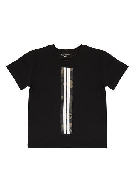 Black Kid T-Shirt With Camouflage Detail NEIL BARRETT KIDS | t-shirts | 025897110