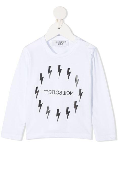 White Newborn T-Shirt With Mirrored Logo And Circular Fair-Isle Thunderbolt  NEIL BARRETT KIDS | t-shirts | 026331001