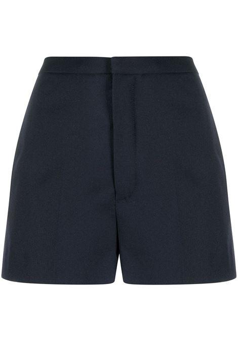 Mini Shorts Plisse' In Gabardine Di Lana Blu Navy SAINT LAURENT | Shorts | 633791-Y221W4141