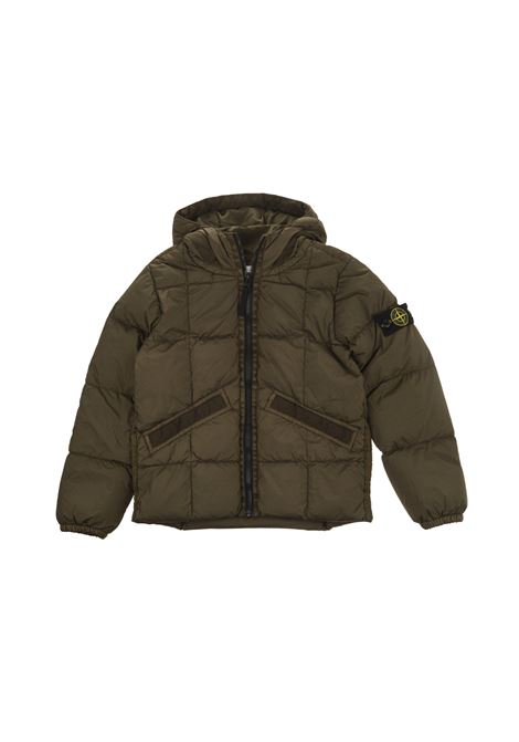 Military Green Garment Dyed Crinkle Reps NY Kid Jacket STONE ISLAND JUNIOR |  | 731640333V0054