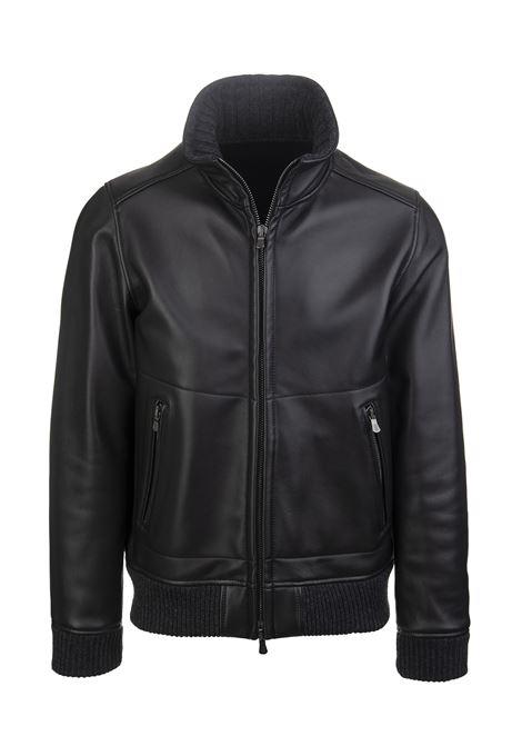 Black Leather Man Bomber Jacket FEDELI | paddedd jacket | 3UI00505001-VAR1