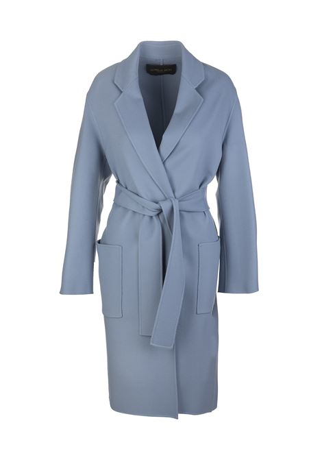 Light Blue Double Wool Woman Coat With Belt SORELLE SECLI | Coats | SSC0060-TPN04018757