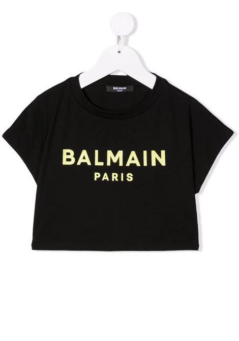 Kids Black Crop T-Shirt With Yellow Glitter Logo BALMAIN KIDS | t-shirts | 6P8061-Z0003930