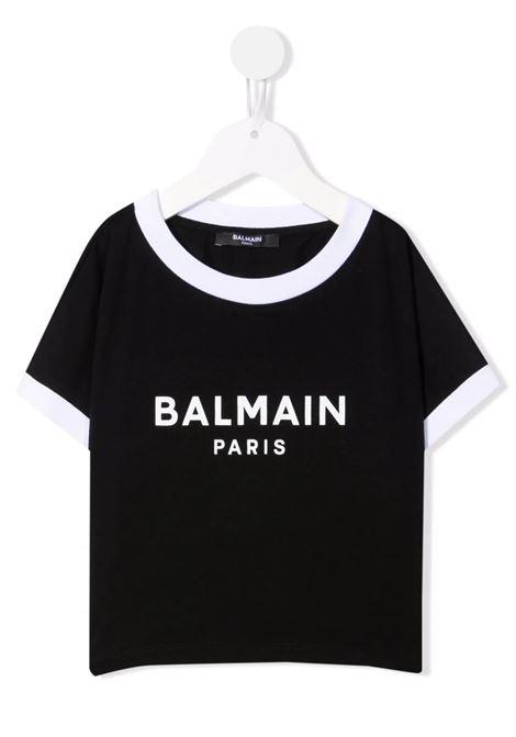 T-Shirt Crop Kids Nera e Bianca Con Logo BALMAIN KIDS | T-Shirts | 6P8071-Z0003930BC