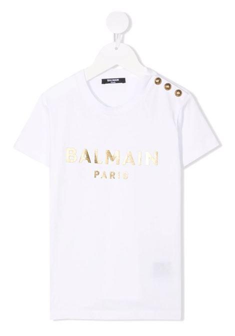 T-Shirt Kids Bianca Con Bottoni e Logo Metallizzato Dorato BALMAIN KIDS | T-Shirts | 6P8101-J0006100