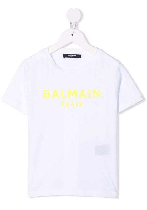 T-Shirt Kids Bianca Con Logo In Velluto Nero BALMAIN KIDS | T-Shirts | 6P8521-Z0003100GL