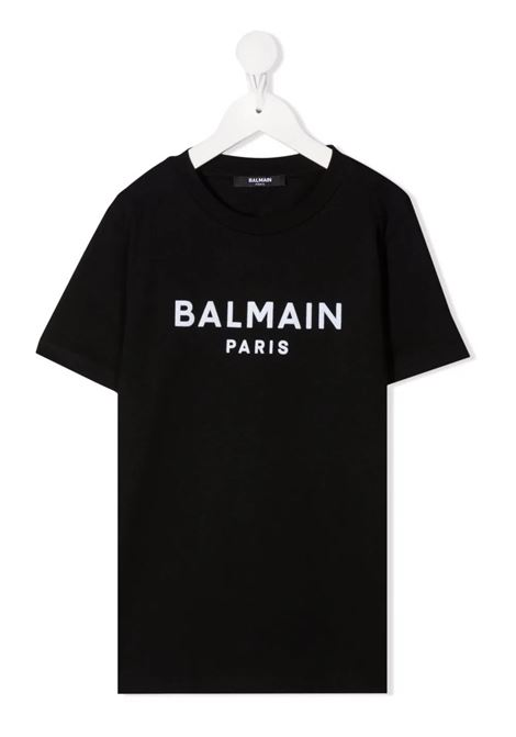 T-Shirt Kids Nera Con Logo In Velluto Bianco BALMAIN KIDS | T-Shirts | 6P8521-Z0003930BC