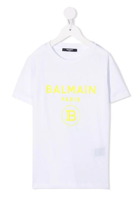 T-Shirt Kids Bianca Con Logo B In Velluto Giallo BALMAIN KIDS | T-Shirts | 6P8541-Z0003100GL