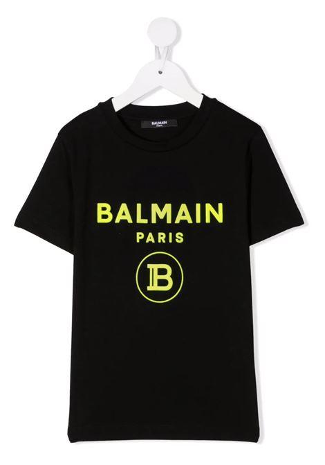 T-Shirt Kids Nera Con Logo B In Velluto Giallo BALMAIN KIDS | T-Shirts | 6P8541-Z0003930GL