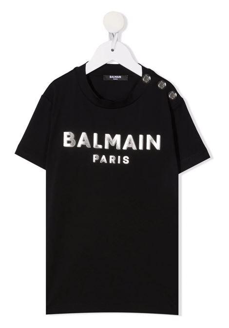 Kids Black T-Shirt With Metallic Logo and Silver Buttons BALMAIN KIDS | t-shirts | 6P8641-Z0003930AG
