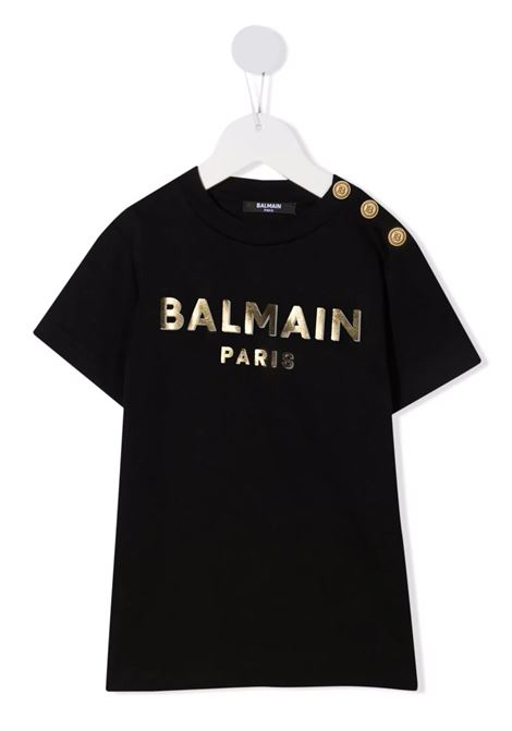 Kids Black T-Shirt With Metallic Logo and Golden Buttons BALMAIN KIDS | t-shirts | 6P8641-Z0003930OR