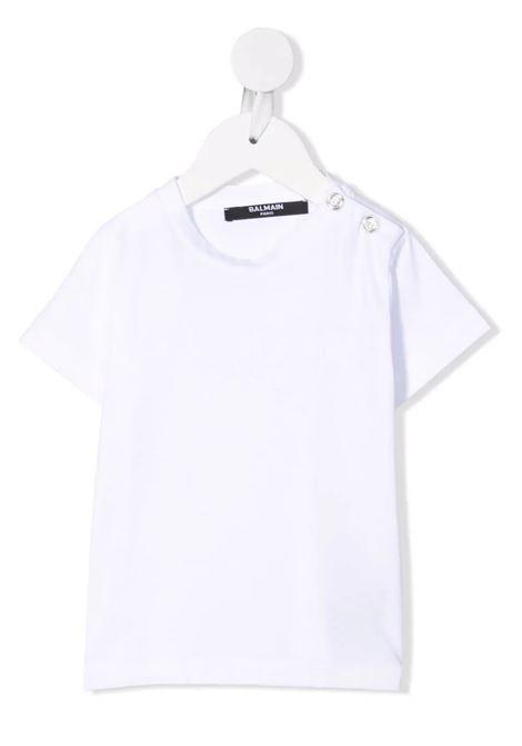 T-Shirt Bianca Baby Con Logo In Velluto Bianco BALMAIN KIDS | T-Shirts | 6P8A11-Z0003100BC
