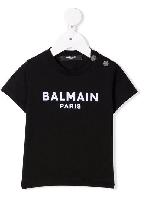 T-Shirt Nera Baby Con Logo In Velluto Bianco BALMAIN KIDS | T-Shirts | 6P8A11-Z0003930BC