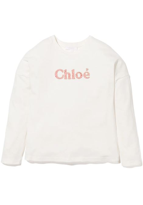 White Kids T-Shirt With Contrast Logo CHLOE' KIDS | t-shirts | C15D21117