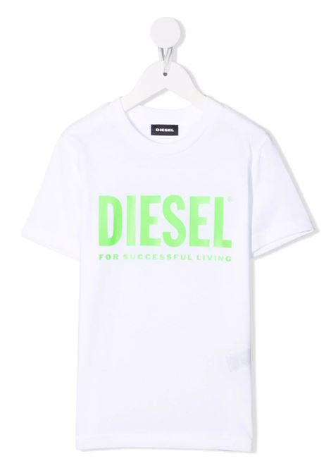 T-Shirt Kids Bianca Con Logo Oversize Verde Fluo DIESEL KIDS | T-Shirts | 00J4P6-00YI9K100U