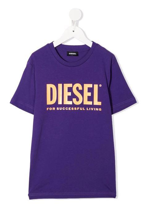 T-Shirt Kids Viola Con Logo Oversize Arancione DIESEL KIDS | T-Shirts | 00J4P6-00YI9K636