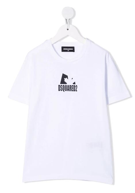 White D2 Kids T-Shirt With Logo and Maple Leaf DSQUARED KID | t-shirts | DQ0518-D002F-D2T689UDQ100