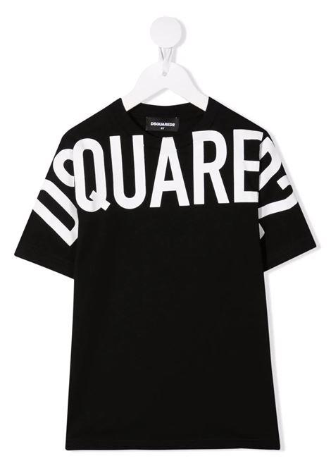 T-Shirt D2 Kids Nera Con Macro Logo Bianco DSQUARED KID | T-Shirts | DQ0526-D002F-D2T699UDQ900