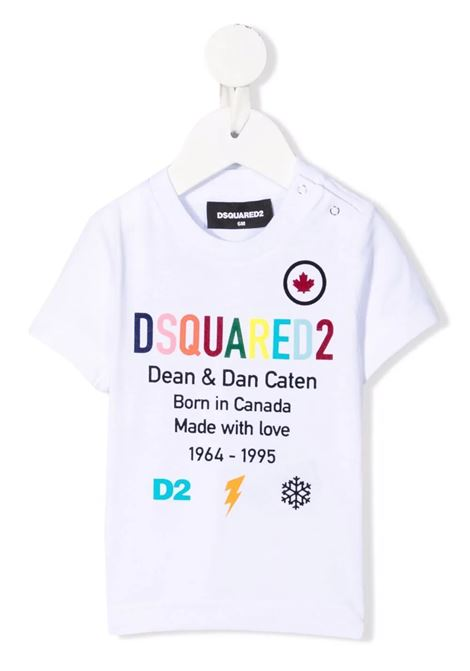 Baby White T-Shirt With Multicolor Print DSQUARED KID | t-shirts | DQ0553-D00MM-D2T711BDQ100