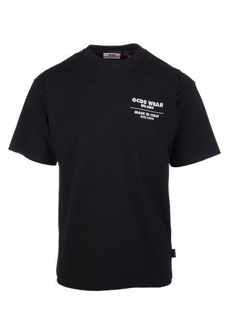 Man Black Regular Fit T-Shirt With Contrast Logo GCDS | t-shirts | CC94M02150902
