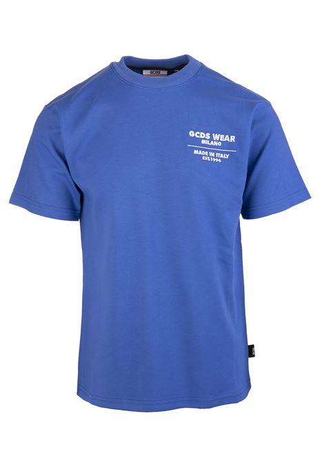 Man Blue Regular Fit T-Shirt With Contrast Logo GCDS | t-shirts | CC94M02150908