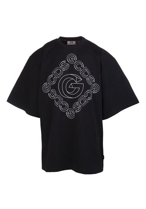 T-Shirt Oversize Nera Con Logo 3D Uomo GCDS | T-Shirts | CC94M02151102