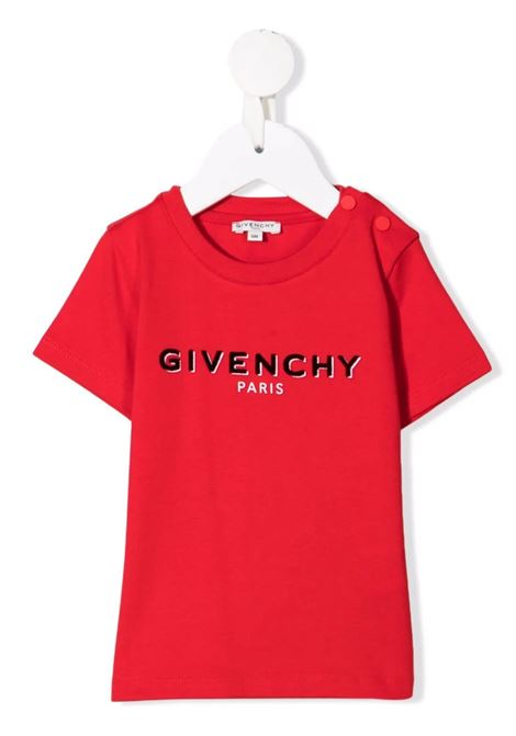 Red Baby T-Shirt With Black Logo GIVENCHY KIDS | t-shirts | H05195991