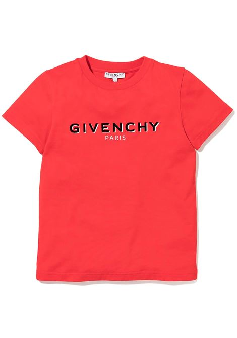 Red Kids T-Shirt With Black Flocked Logo GIVENCHY KIDS   t-shirts   H25281991