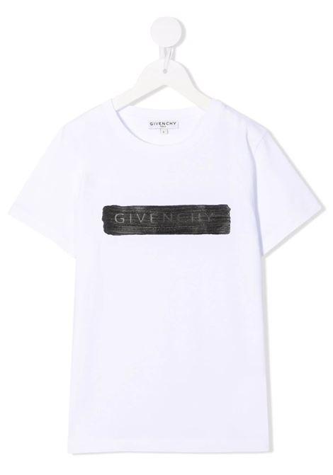 Kids White T-Shirt With Black Logo Application GIVENCHY KIDS | t-shirts | H2528310B