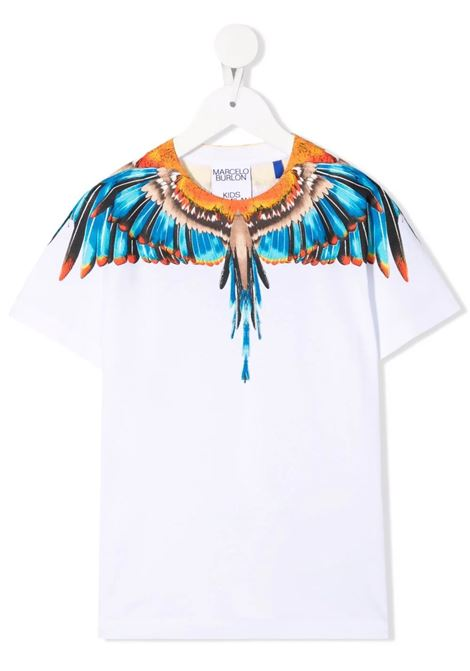 Kids White And Blue Grizzly Wings T-Shirt MARCELO BURLON KIDS   t-shirts   CBAA002F21JER0090140