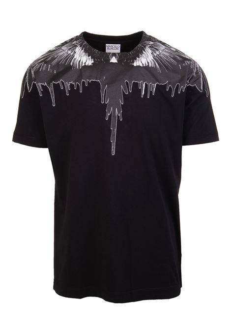 T-Shirt Liquid Wings Nera Uomo MARCELO BURLON | T-Shirts | CMAA018F21JER0041010