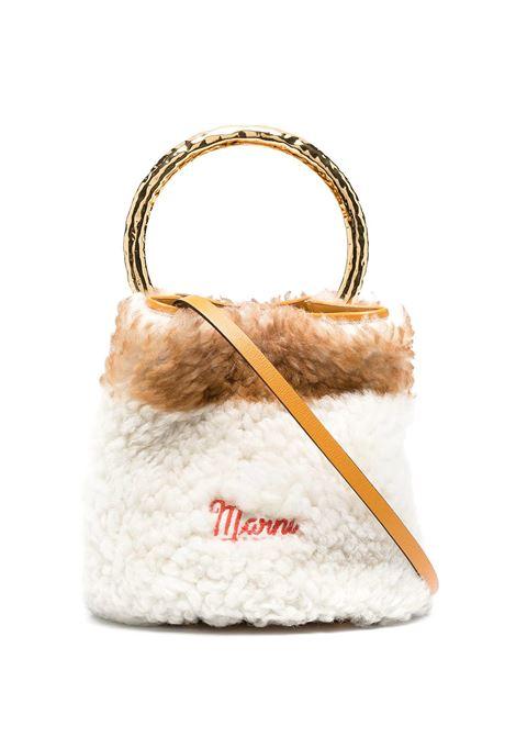 White And Light Orange Pannier Bag In Shearling MARNI | Bags | SCMPU09TL5-P4295Z2O42