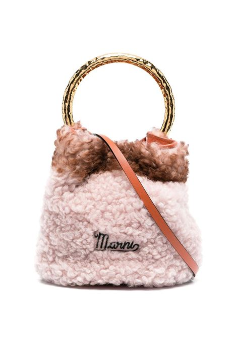 Pink And Orange Pannier Bag In Shearling MARNI | Bags | SCMPU09TL5-P4295Z2O43
