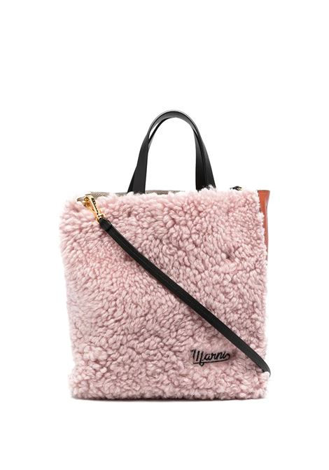 Pink And Orange Small Museo Soft Bag In Leather And Shearling MARNI | Bags | SHMP0018Q9-LM071Z2O09